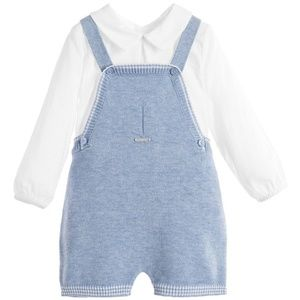  Mayoral Two Piece Blue Knitted Dungarees Set
